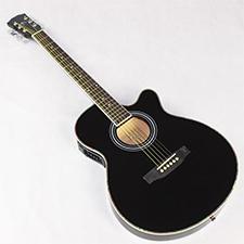 גיטרה אקוסטית מוגברת שחורה Armando