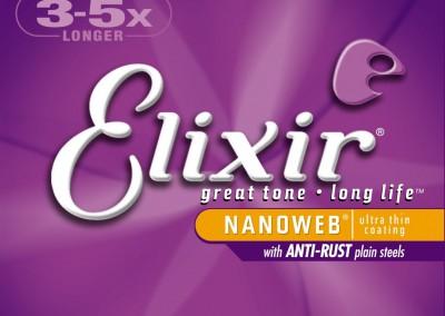 סט מיתרים לגיטרה אקוסטית 12 מיתרים 0.10 ELIXIR