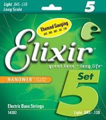 סט מיתרים לבס 5 מיתרים ELIXIR NANO 0.45